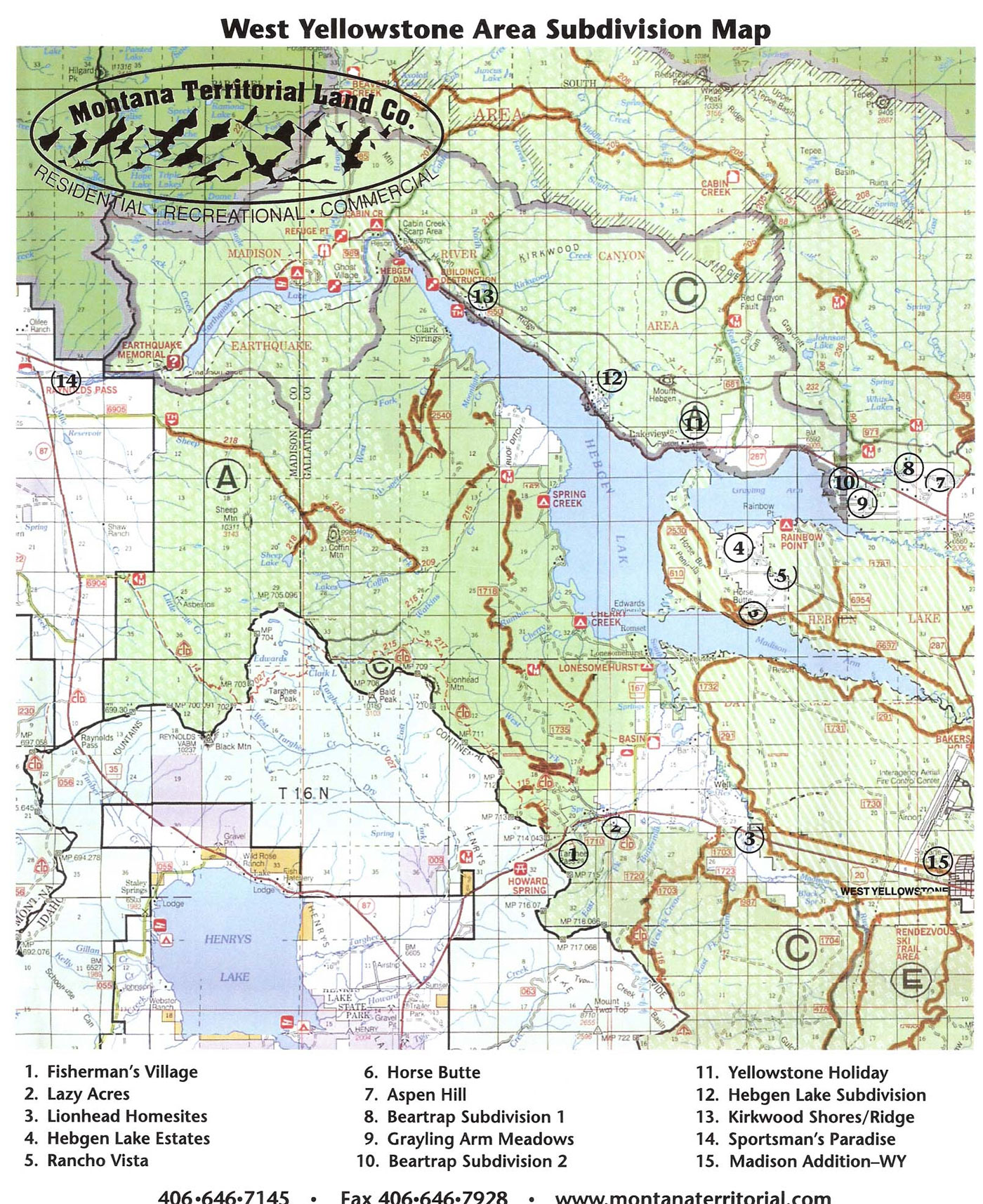 Area Maps of West Yellowstone MT  MTLC